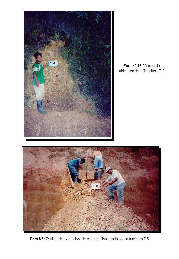 Foto N° 18: Vista de extracción de muestras inalteradas de la trinchera T-7 Foto N° 19: Vista de extracción de muestras inalteradas de la trinchera T-8