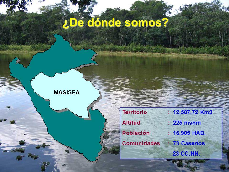 U C A Y A L I ¿De dónde somos? Territorio: 12,507.72 Km2 Altitud : 225 msnm Población: 16,905 HAB. Comunidades: 73 Caseríos 23 CC.NN. MASISEA