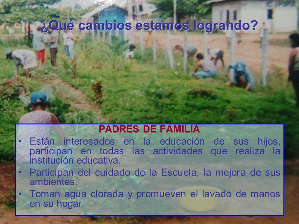 ¿Qué cambios estamos logrando? PADRES DE FAMILIA Están interesados en la educación de sus hijos, participan en todas las actividades que realiza la in