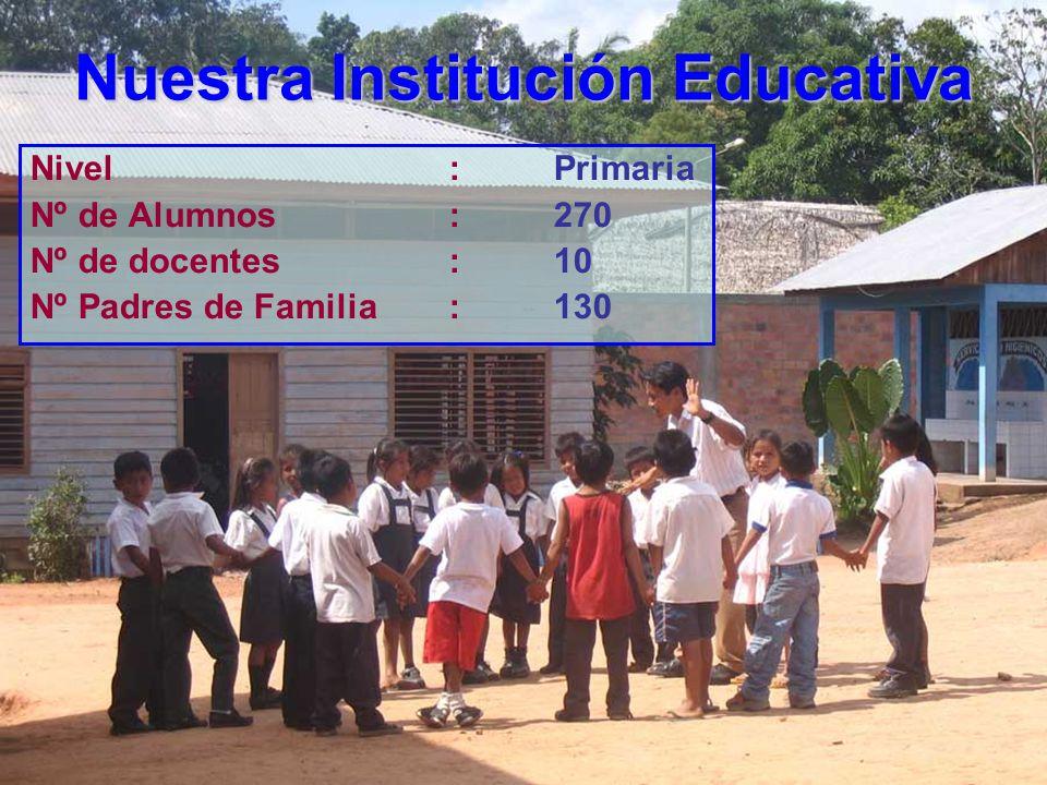 Nuestra Institución Educativa Nivel:Primaria Nº de Alumnos:270 Nº de docentes:10 Nº Padres de Familia:130