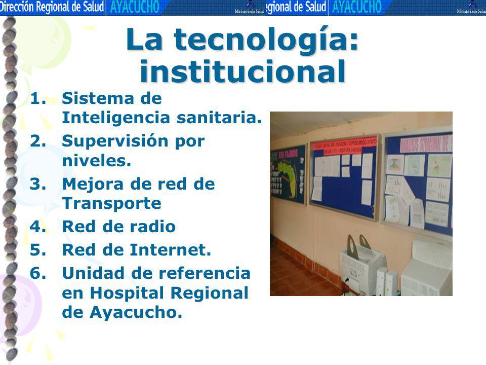 La tecnología: institucional 1.Sistema de Inteligencia sanitaria. 2.Supervisión por niveles. 3.Mejora de red de Transporte 4.Red de radio 5.Red de Int