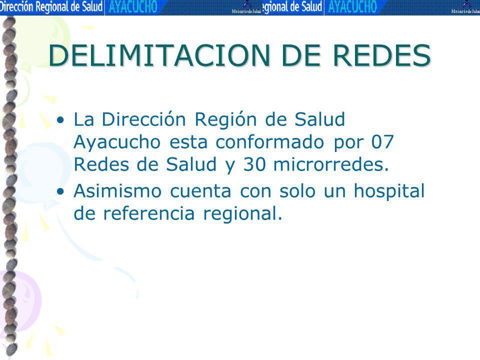 DELIMITACION DE REDES La Dirección Región de Salud Ayacucho esta conformado por 07 Redes de Salud y 30 microrredes. Asimismo cuenta con solo un hospit