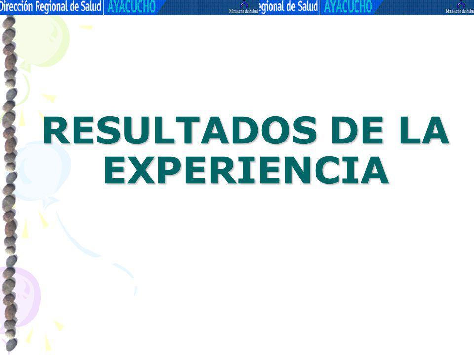 RESULTADOS DE LA EXPERIENCIA