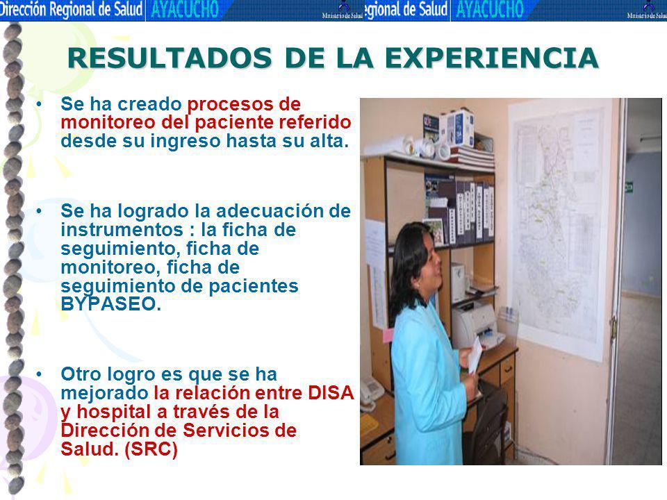 Se ha creado procesos de monitoreo del paciente referido desde su ingreso hasta su alta. Se ha logrado la adecuación de instrumentos : la ficha de seg