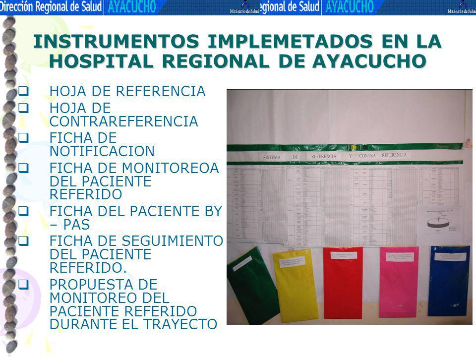 INSTRUMENTOS IMPLEMETADOS EN LA HOSPITAL REGIONAL DE AYACUCHO HOJA DE REFERENCIA HOJA DE CONTRAREFERENCIA FICHA DE NOTIFICACION FICHA DE MONITOREOA DE