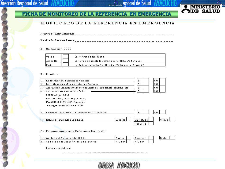FICHA DE MONITOREO DE LA REFERENCIA EN EMERGENCIA