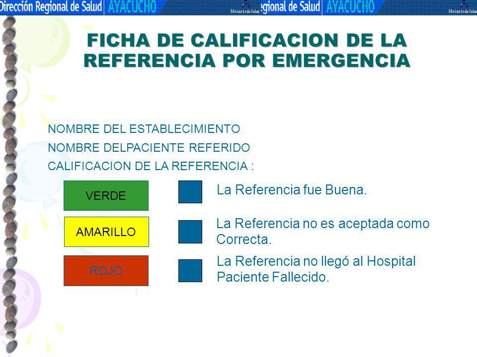 FICHA DE CALIFICACION DE LA REFERENCIA POR EMERGENCIA NOMBRE DEL ESTABLECIMIENTO NOMBRE DELPACIENTE REFERIDO CALIFICACION DE LA REFERENCIA : VERDE AMA