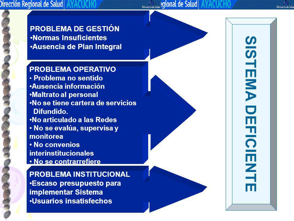 PROBLEMA INSTITUCIONAL Escaso presupuesto para implementar Sistema Usuarios insatisfechos PROBLEMA OPERATIVO Problema no sentido Ausencia información