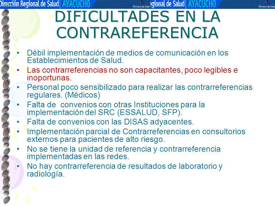 DIFICULTADES EN LA CONTRAREFERENCIA Débil implementación de medios de comunicación en los Establecimientos de Salud. Las contrarreferencias no son cap