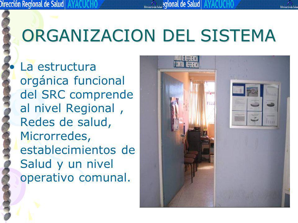 ORGANIZACION DEL SISTEMA La estructura orgánica funcional del SRC comprende al nivel Regional, Redes de salud, Microrredes, establecimientos de Salud