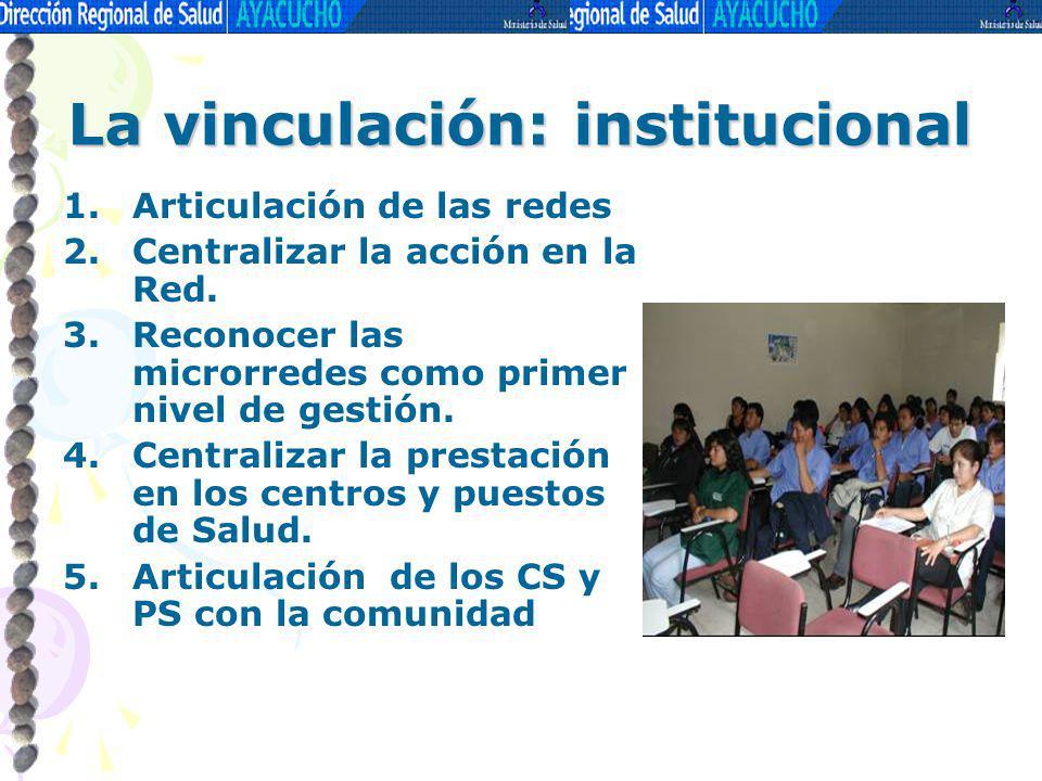 La vinculación: institucional 1.Articulación de las redes 2.Centralizar la acción en la Red. 3.Reconocer las microrredes como primer nivel de gestión.