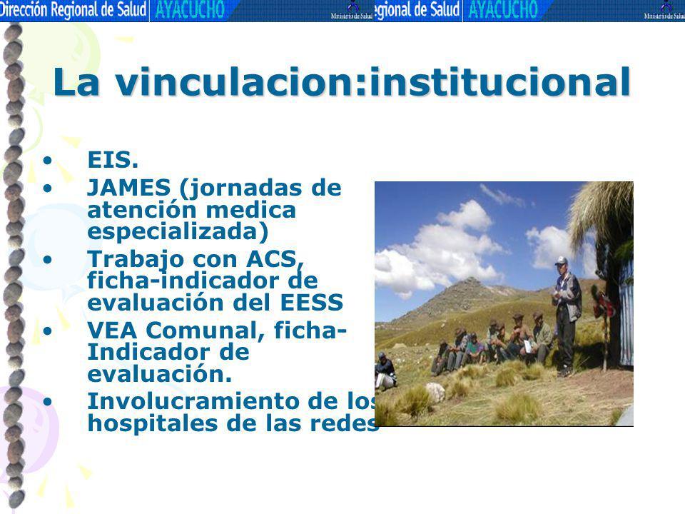 La vinculacion:institucional EIS. JAMES (jornadas de atención medica especializada) Trabajo con ACS, ficha-indicador de evaluación del EESS VEA Comuna