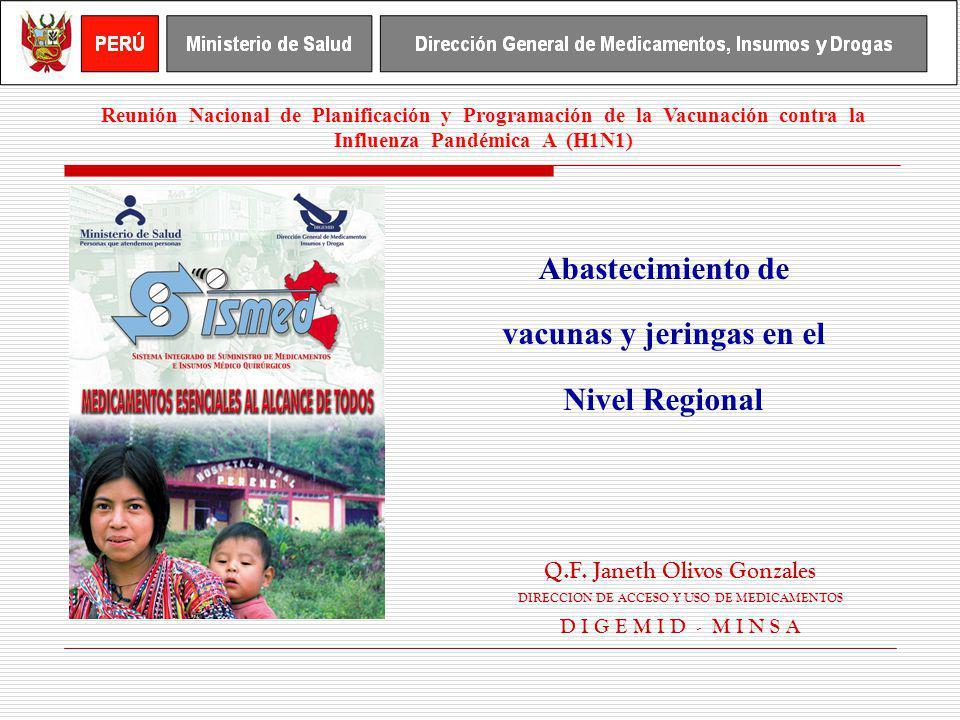 Abastecimiento de vacunas y jeringas en el Nivel Regional Q.F. Janeth Olivos Gonzales DIRECCION DE ACCESO Y USO DE MEDICAMENTOS D I G E M I D - M I N