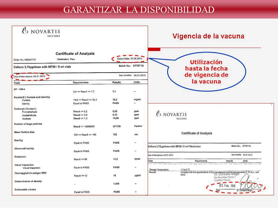 GARANTIZAR LA DISPONIBILIDAD Vigencia de la vacuna Utilización hasta la fecha de vigencia de la vacuna