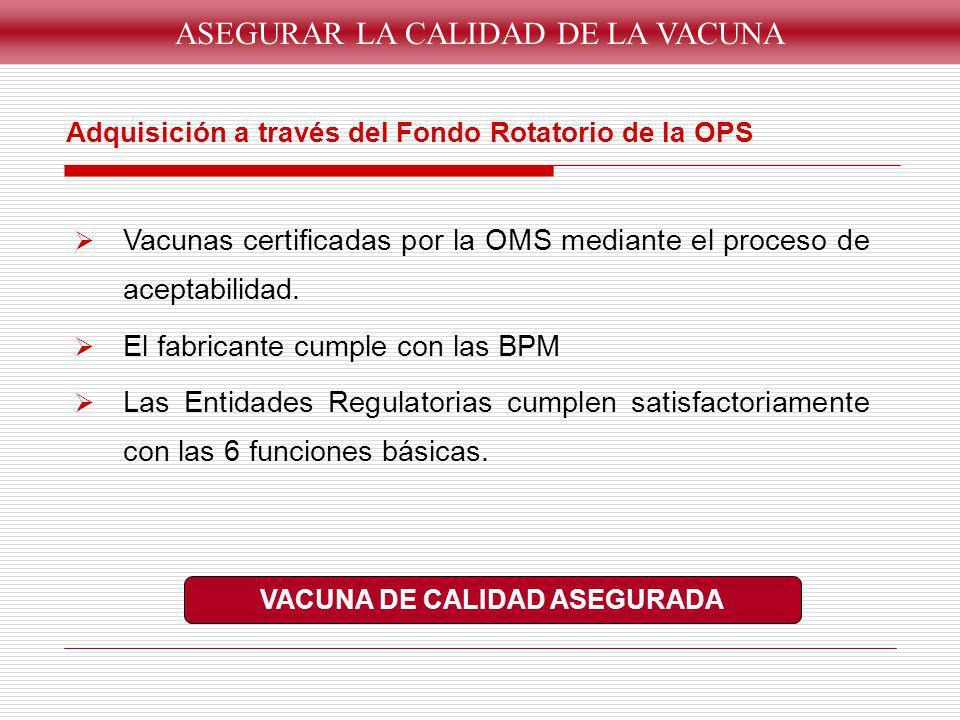 Adquisición a través del Fondo Rotatorio de la OPS Vacunas certificadas por la OMS mediante el proceso de aceptabilidad. El fabricante cumple con las