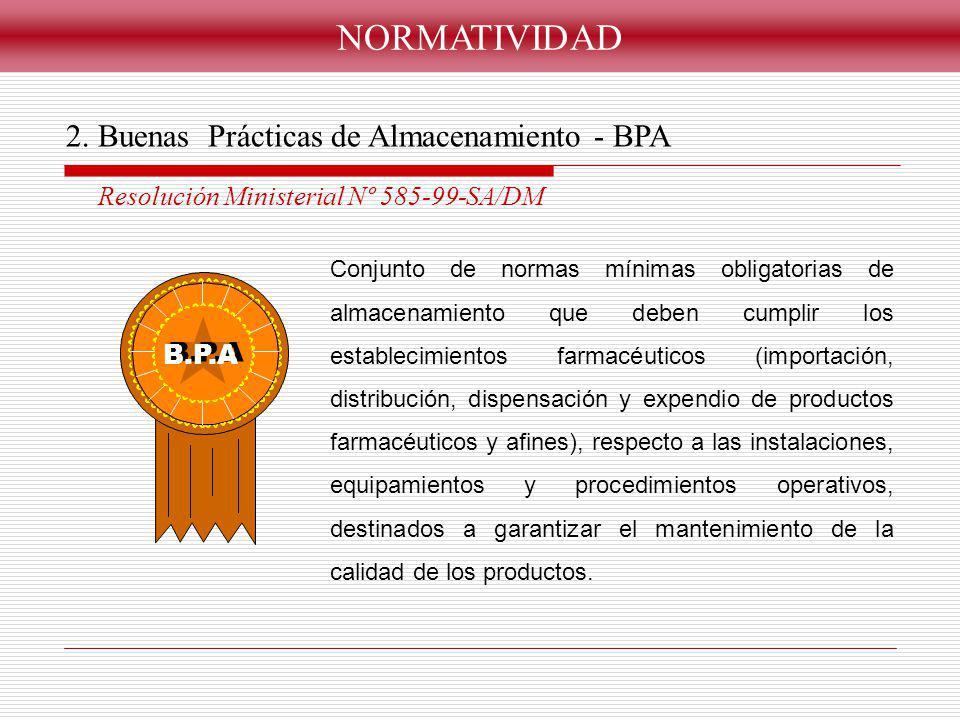 Conjunto de normas mínimas obligatorias de almacenamiento que deben cumplir los establecimientos farmacéuticos (importación, distribución, dispensació