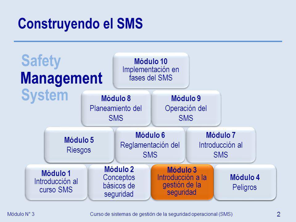 Módulo N° 3Curso de sistemas de gestión de la seguridad operacional (SMS) 3 Objetivo Al completar este módulo los participantes estarán capacitados para explicar la necesidad de, las estrategias, y los aspectos claves de la gestión de la seguridad operacional.