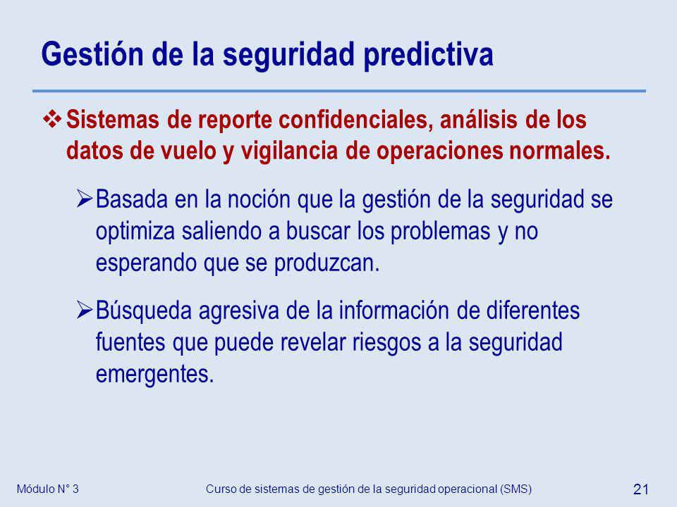 Módulo N° 3Curso de sistemas de gestión de la seguridad operacional (SMS) 21 Gestión de la seguridad predictiva Sistemas de reporte confidenciales, an
