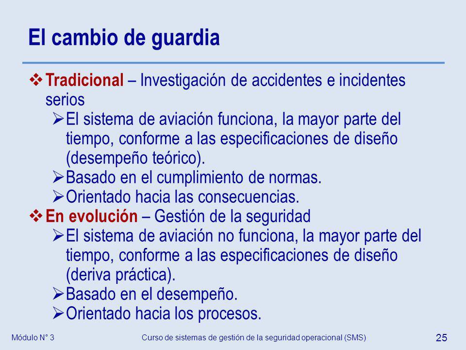 Módulo N° 3Curso de sistemas de gestión de la seguridad operacional (SMS) 25 El cambio de guardia Tradicional – Investigación de accidentes e incident