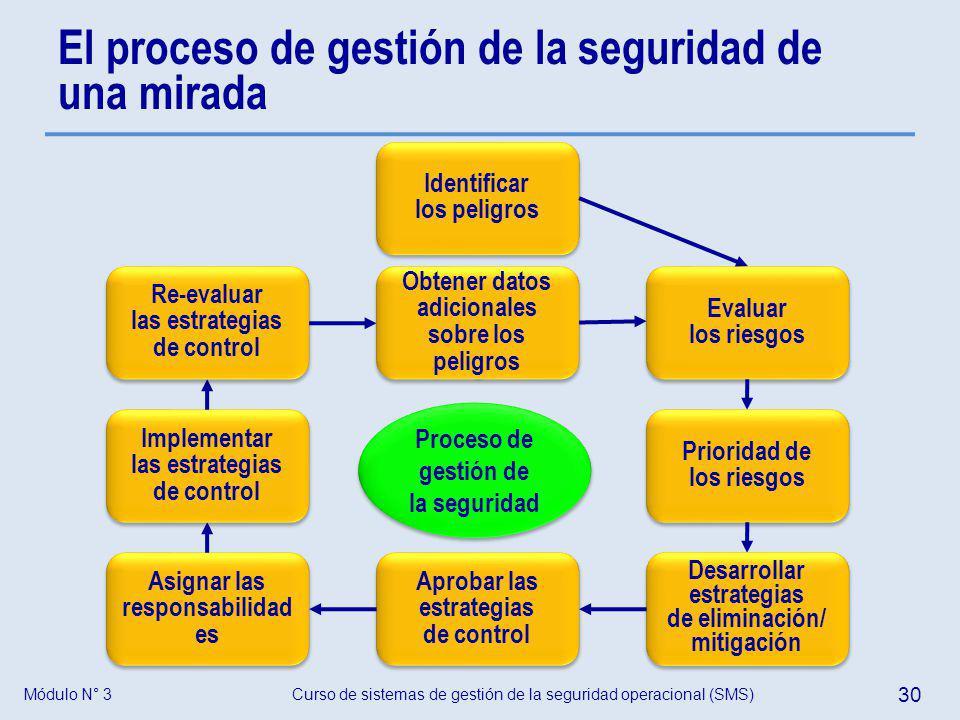Curso de sistemas de gestión de la seguridad operacional (SMS) 30 Módulo N° 3 El proceso de gestión de la seguridad de una mirada Proceso de gestión d