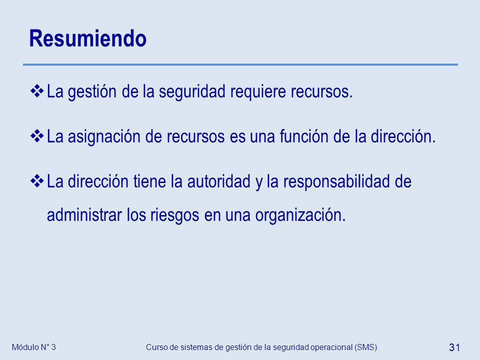 Módulo N° 3Curso de sistemas de gestión de la seguridad operacional (SMS) 31 Resumiendo La gestión de la seguridad requiere recursos. La asignación de
