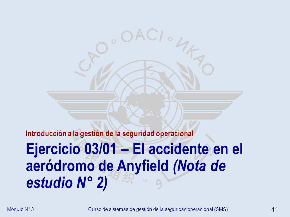 Curso de sistemas de gestión de la seguridad operacional (SMS) 41 Módulo N° 3 Introducción a la gestión de la seguridad operacional Ejercicio 03/01 –