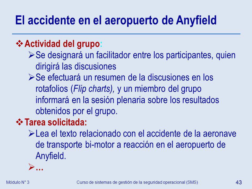 Módulo N° 3Curso de sistemas de gestión de la seguridad operacional (SMS) 43 El accidente en el aeropuerto de Anyfield Actividad del grupo: Se designa