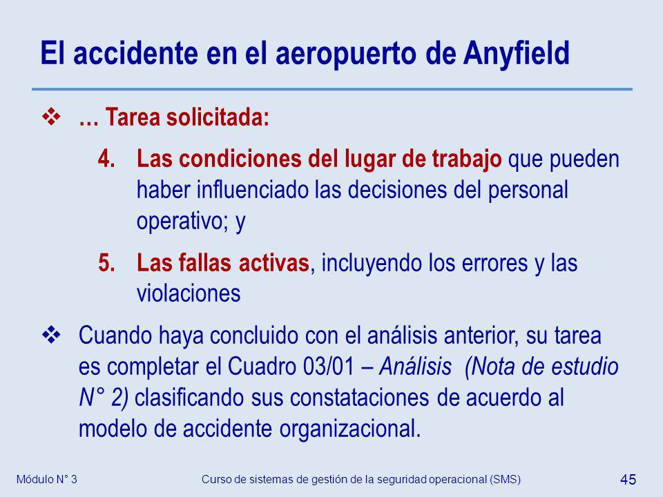 Módulo N° 3Curso de sistemas de gestión de la seguridad operacional (SMS) 45 El accidente en el aeropuerto de Anyfield … Tarea solicitada: 4. Las cond