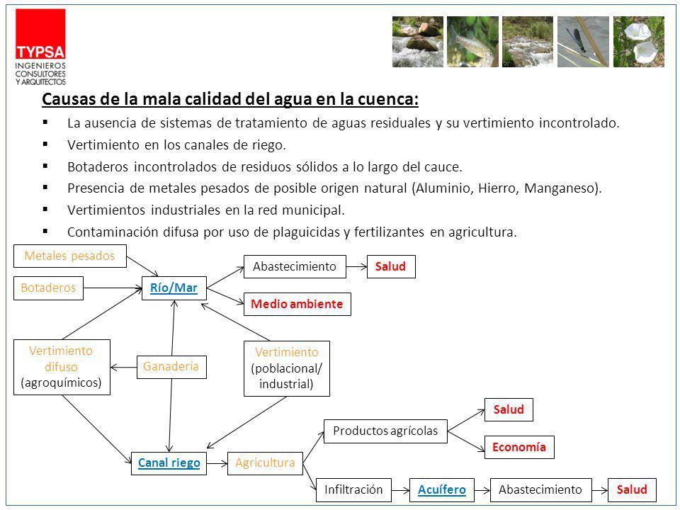Causas de la mala calidad del agua en la cuenca: La ausencia de sistemas de tratamiento de aguas residuales y su vertimiento incontrolado. Vertimiento