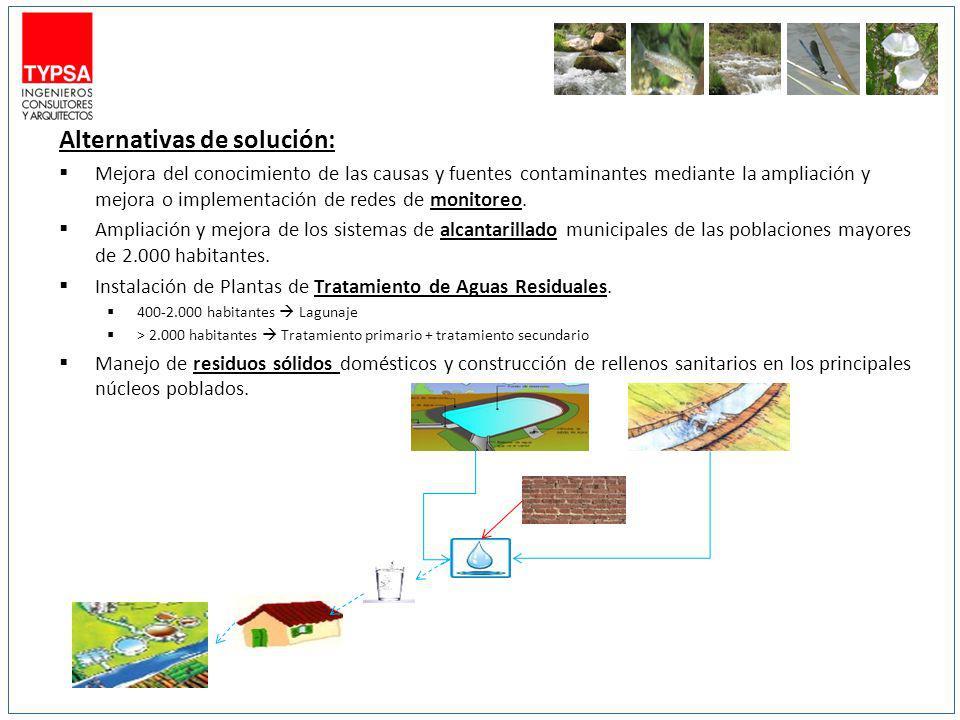 Alternativas de solución: Mejora del conocimiento de las causas y fuentes contaminantes mediante la ampliación y mejora o implementación de redes de m