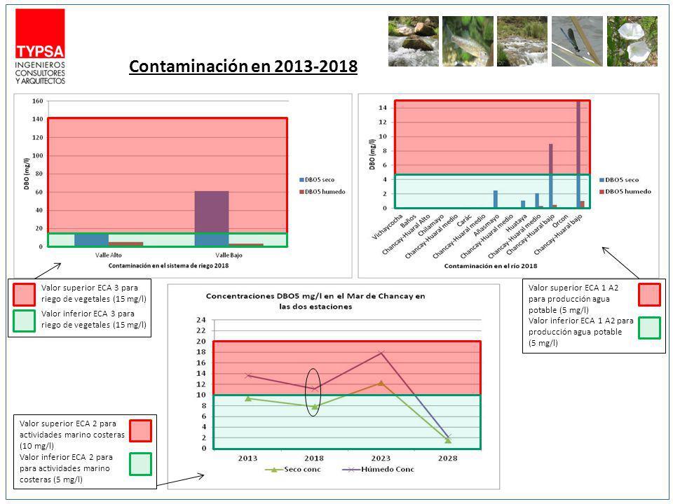 Contaminación en 2013-2018 Valor superior ECA 3 para riego de vegetales (15 mg/l) Valor inferior ECA 3 para riego de vegetales (15 mg/l) Valor superio