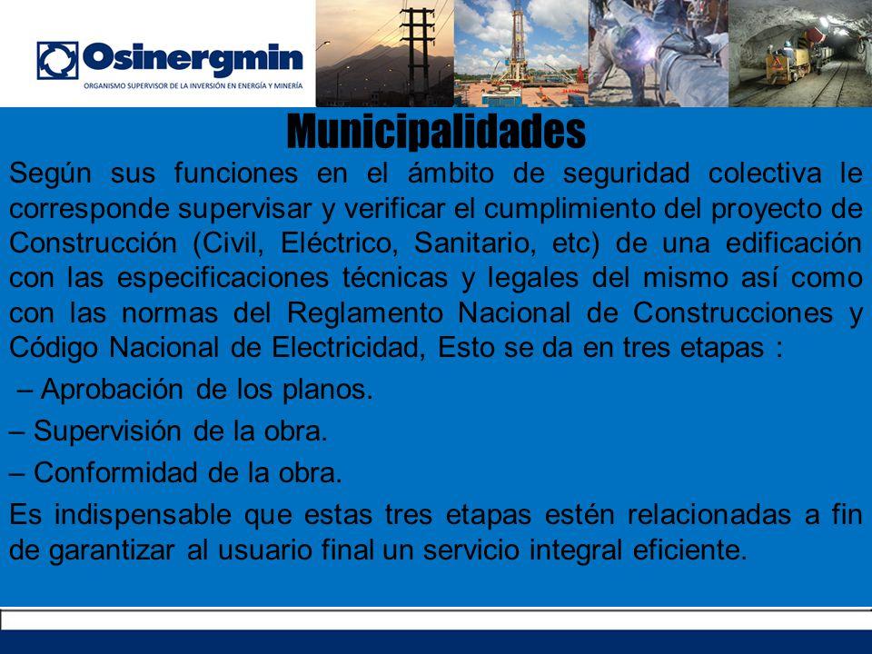 Municipalidades Según sus funciones en el ámbito de seguridad colectiva le corresponde supervisar y verificar el cumplimiento del proyecto de Construc