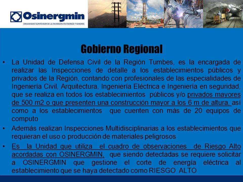 Gobierno Regional La Unidad de Defensa Civil de la Región Tumbes, es la encargada de realizar las Inspecciones de detalle a los establecimientos públi