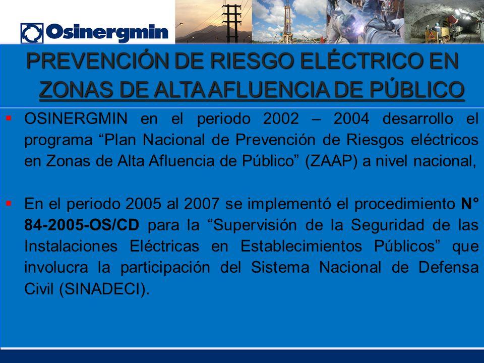 OSINERGMIN en el periodo 2002 – 2004 desarrollo el programa Plan Nacional de Prevención de Riesgos eléctricos en Zonas de Alta Afluencia de Público (Z