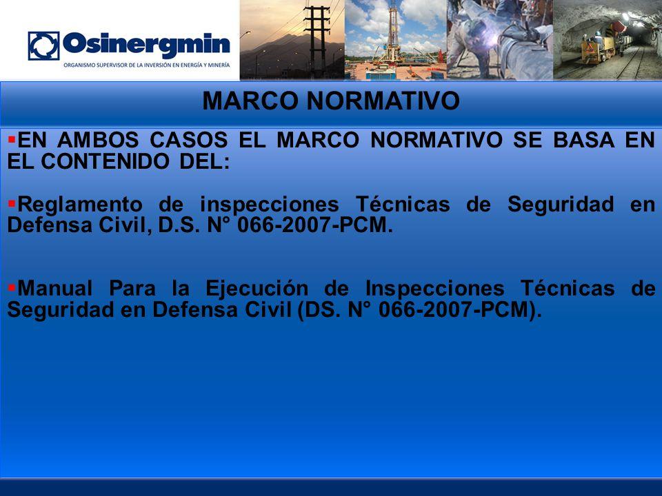 MARCO NORMATIVO EN AMBOS CASOS EL MARCO NORMATIVO SE BASA EN EL CONTENIDO DEL: Reglamento de inspecciones Técnicas de Seguridad en Defensa Civil, D.S.