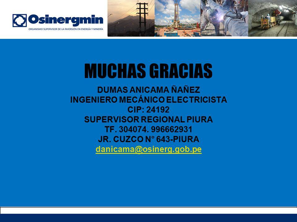 DUMAS ANICAMA ÑAÑEZ INGENIERO MECÁNICO ELECTRICISTA CIP: 24192 SUPERVISOR REGIONAL PIURA TF. 304074. 996662931 JR. CUZCO N° 643-PIURA danicama@osinerg