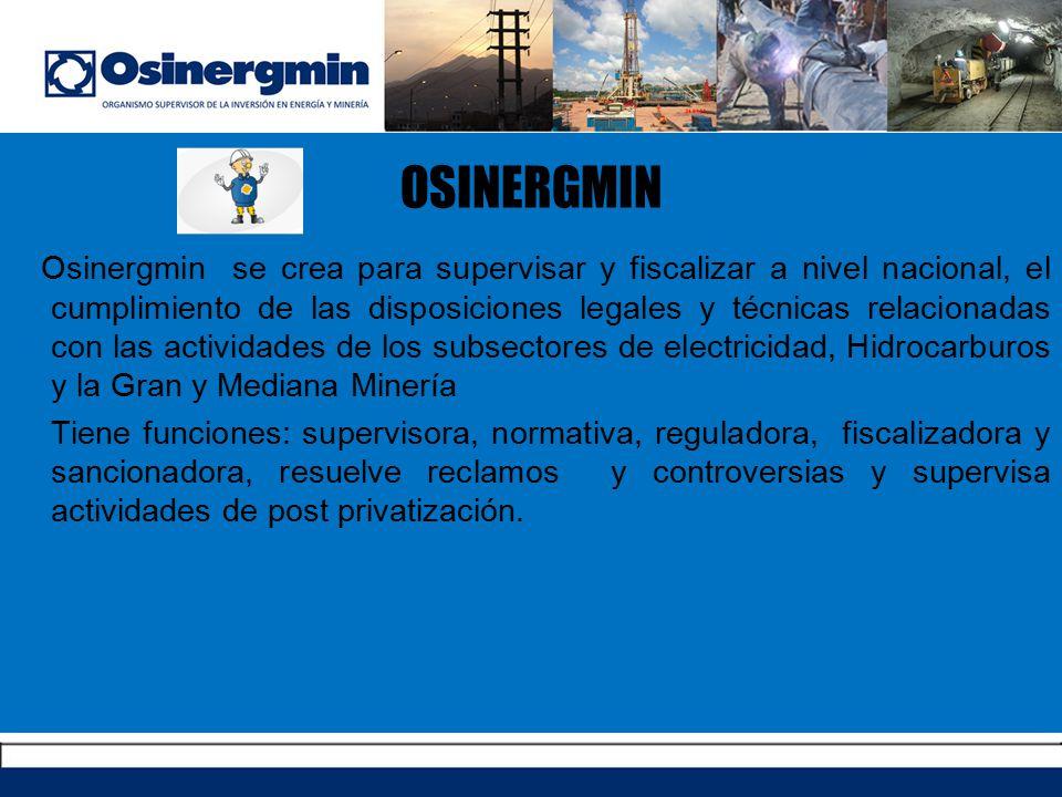 OSINERGMIN Osinergmin se crea para supervisar y fiscalizar a nivel nacional, el cumplimiento de las disposiciones legales y técnicas relacionadas con