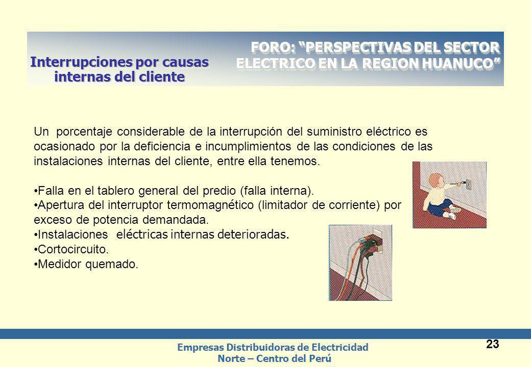 Empresas Distribuidoras de Electricidad Norte – Centro del Perú Empresas Distribuidoras de Electricidad Norte – Centro del Perú 23 FORO: PERSPECTIVAS