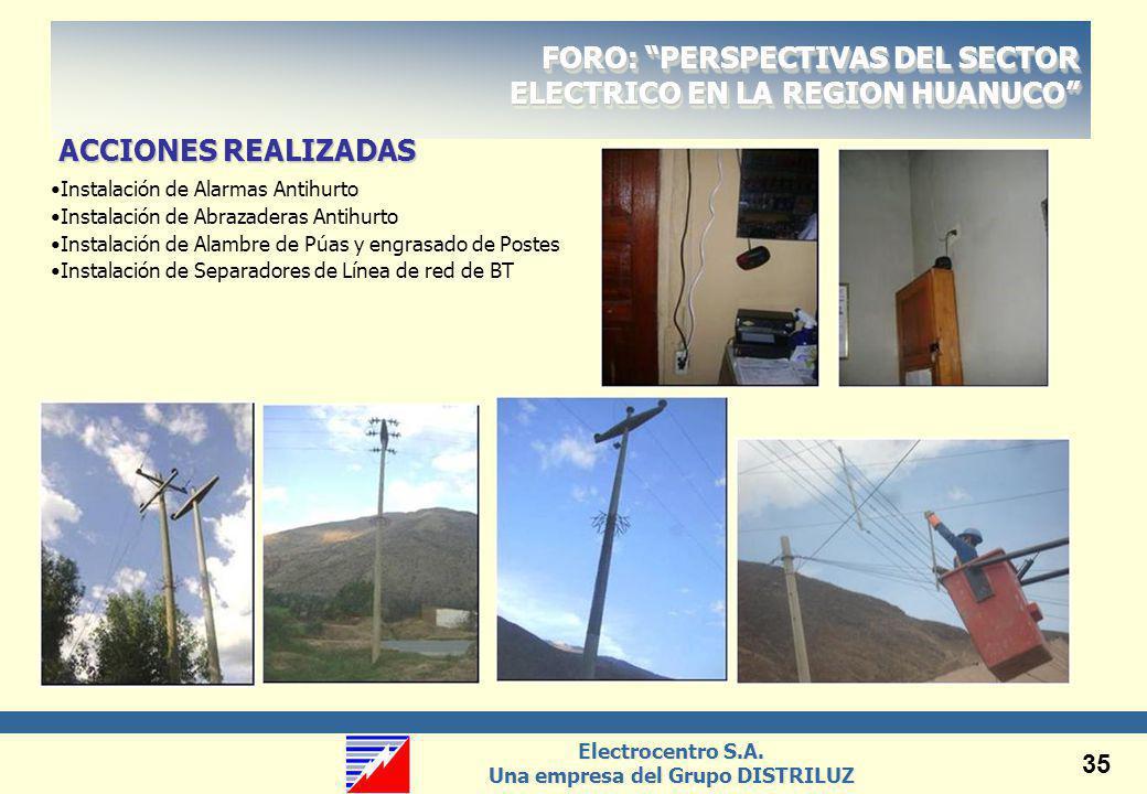 Electrocentro S.A. Una empresa del Grupo DISTRILUZ Electrocentro S.A. Una empresa del Grupo DISTRILUZ 35 FORO: PERSPECTIVAS DEL SECTOR ELECTRICO EN LA