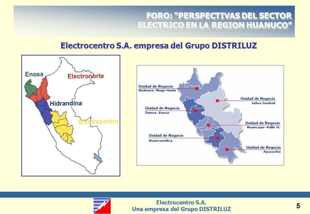 Electrocentro S.A. Una empresa del Grupo DISTRILUZ Electrocentro S.A. Una empresa del Grupo DISTRILUZ 5 Electrocentro S.A. empresa del Grupo DISTRILUZ