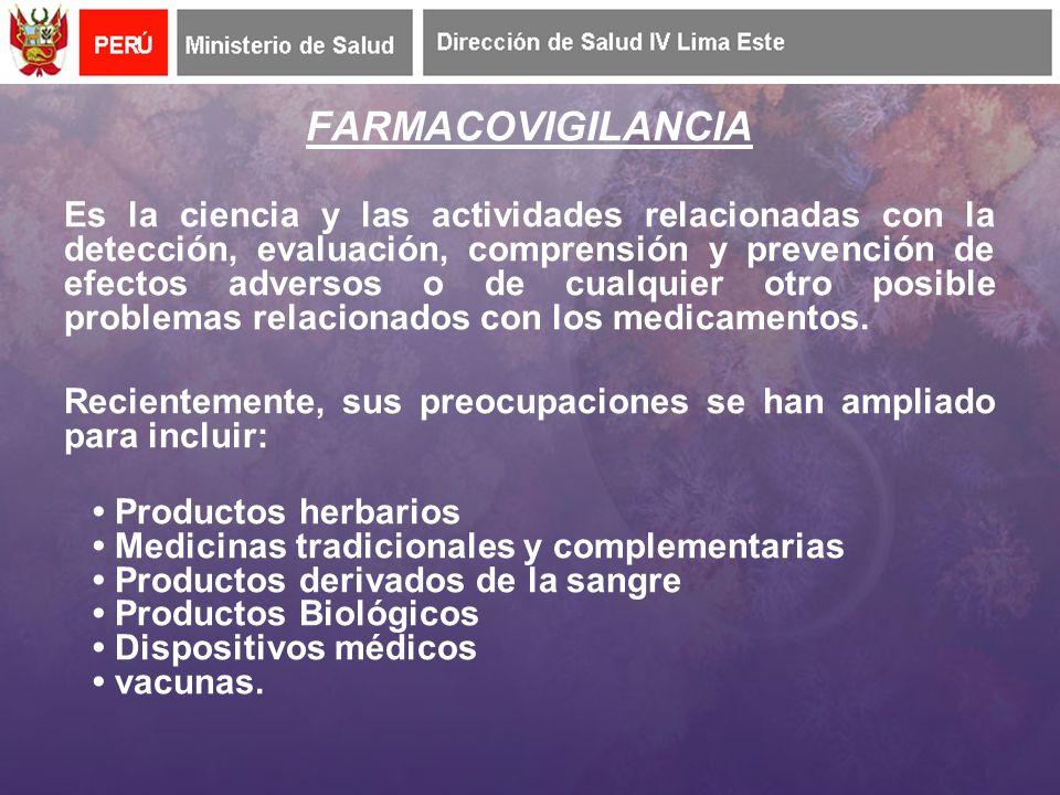 FARMACOVIGILANCIA Es la ciencia y las actividades relacionadas con la detección, evaluación, comprensión y prevención de efectos adversos o de cualquier otro posible problemas relacionados con los medicamentos.