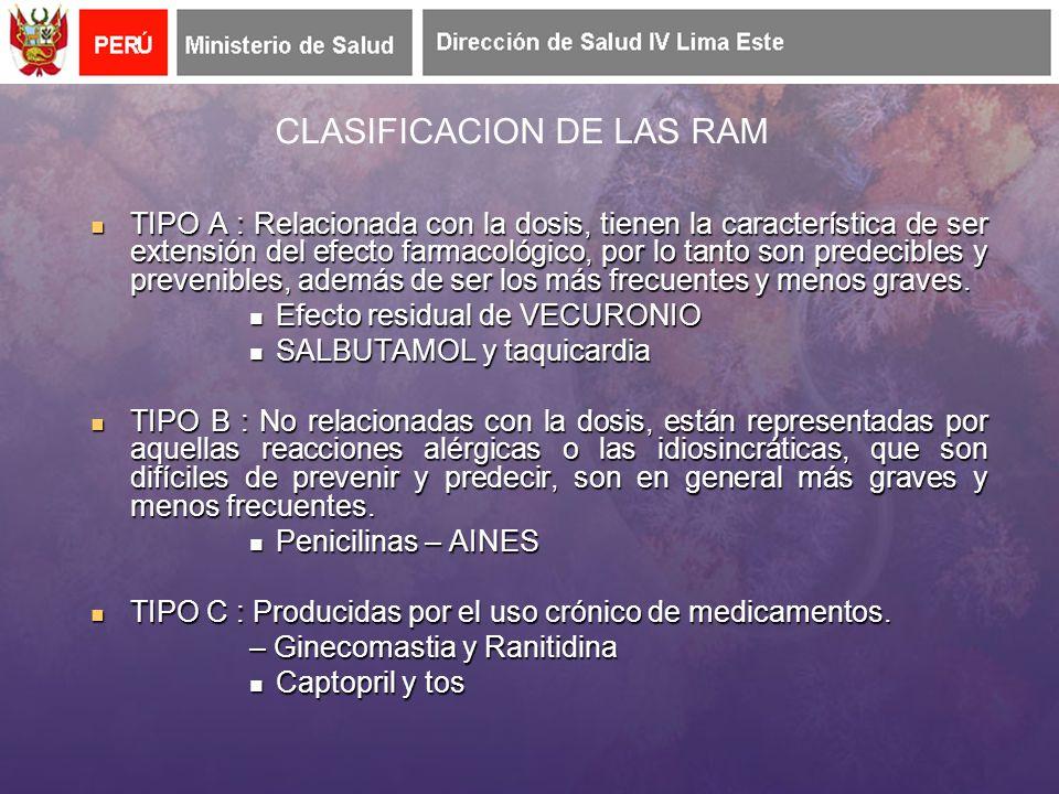 CLASIFICACION DE LAS RAM TIPO A : Relacionada con la dosis, tienen la característica de ser extensión del efecto farmacológico, por lo tanto son predecibles y prevenibles, además de ser los más frecuentes y menos graves.