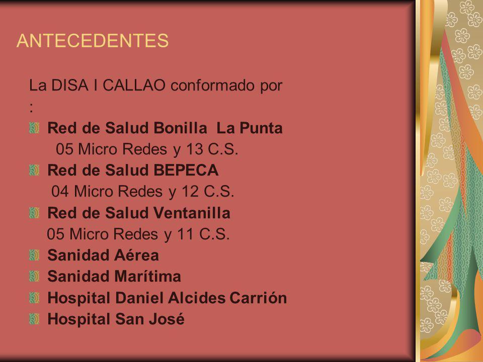 ANTECEDENTES La DISA I CALLAO conformado por : Red de Salud Bonilla La Punta 05 Micro Redes y 13 C.S. Red de Salud BEPECA 04 Micro Redes y 12 C.S. Red