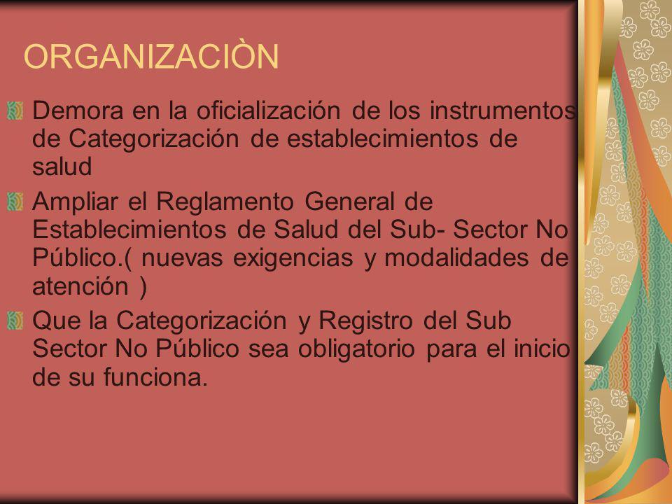 ORGANIZACIÒN Demora en la oficialización de los instrumentos de Categorización de establecimientos de salud Ampliar el Reglamento General de Establecimientos de Salud del Sub- Sector No Público.( nuevas exigencias y modalidades de atención ) Que la Categorización y Registro del Sub Sector No Público sea obligatorio para el inicio de su funciona.