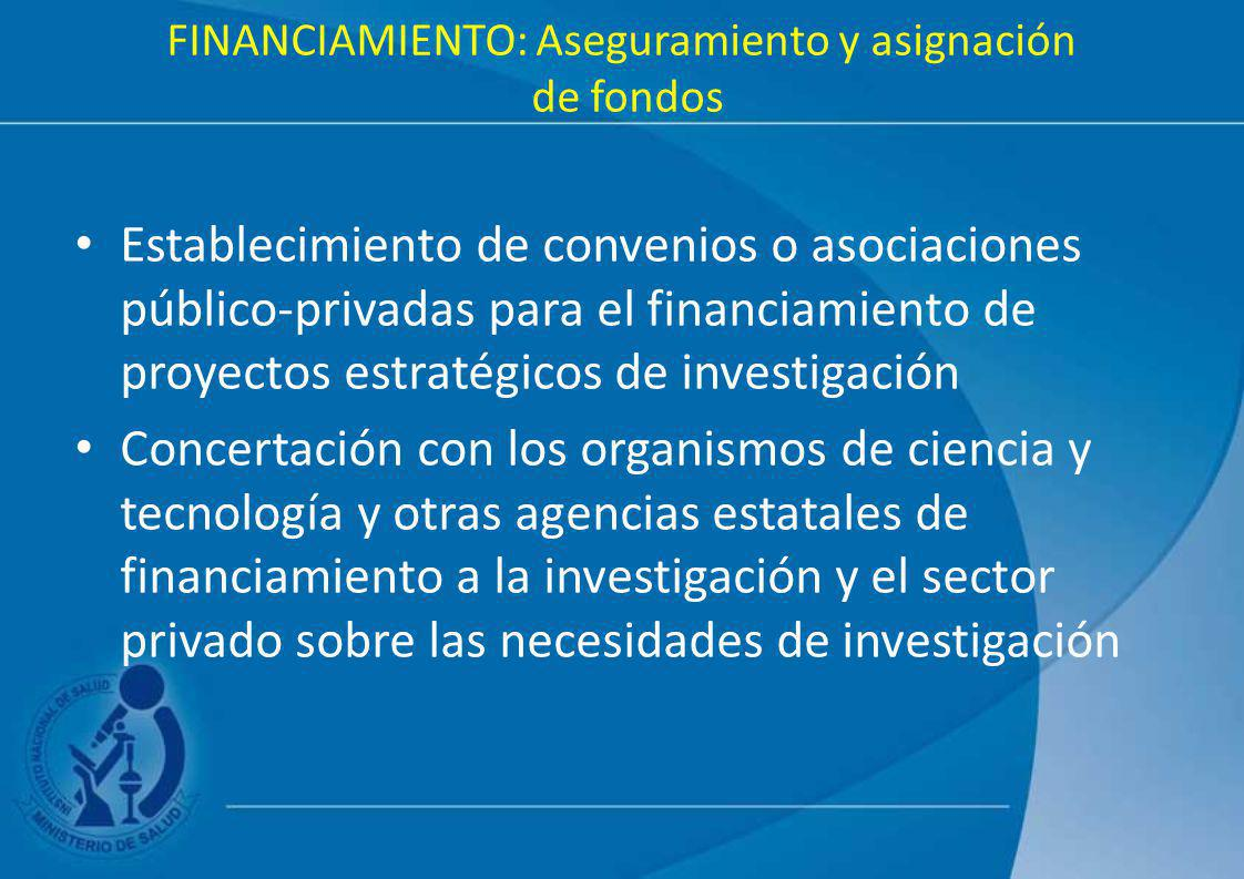 FINANCIAMIENTO: Aseguramiento y asignación de fondos Establecimiento de convenios o asociaciones público-privadas para el financiamiento de proyectos