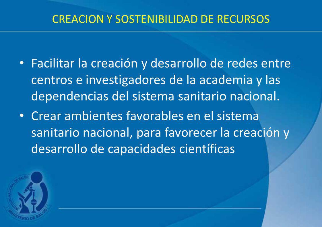 CREACION Y SOSTENIBILIDAD DE RECURSOS Facilitar la creación y desarrollo de redes entre centros e investigadores de la academia y las dependencias del