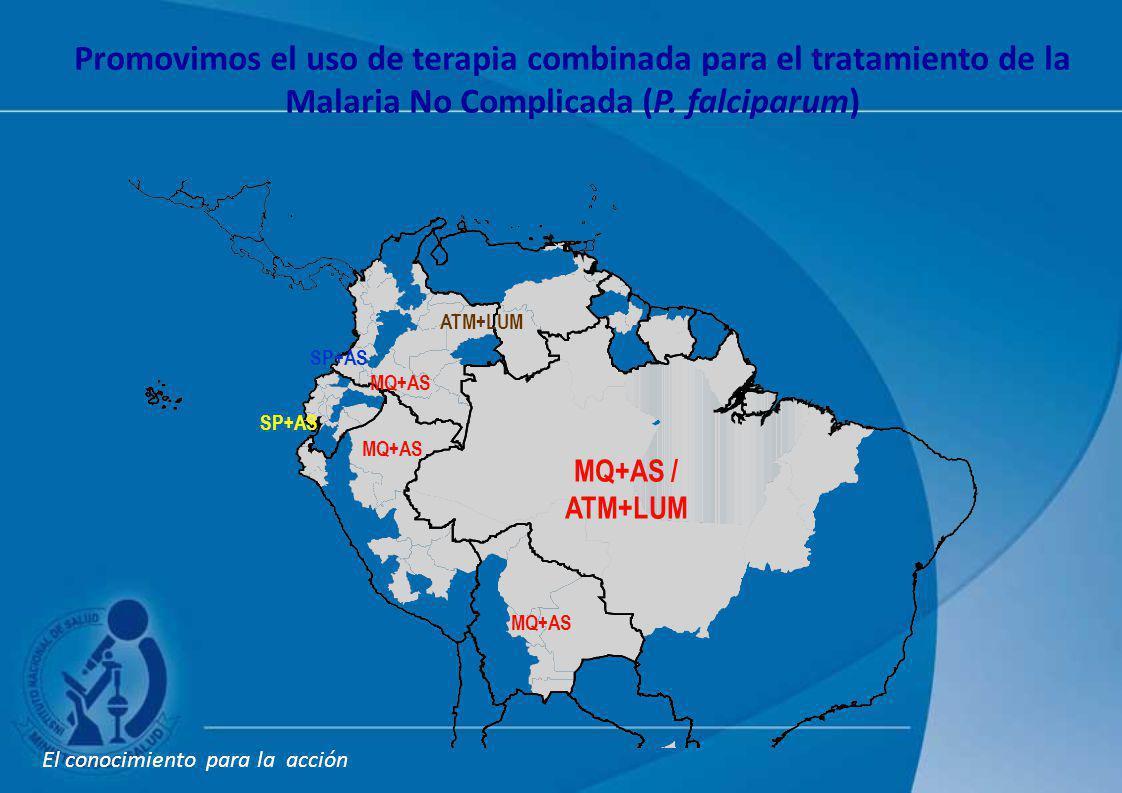 MQ+AS MQ+AS / ATM+LUM SP+AS Promovimos el uso de terapia combinada para el tratamiento de la Malaria No Complicada (P. falciparum) El conocimiento par