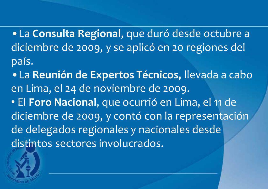 La Consulta Regional, que duró desde octubre a diciembre de 2009, y se aplicó en 20 regiones del país. La Reunión de Expertos Técnicos, llevada a cabo