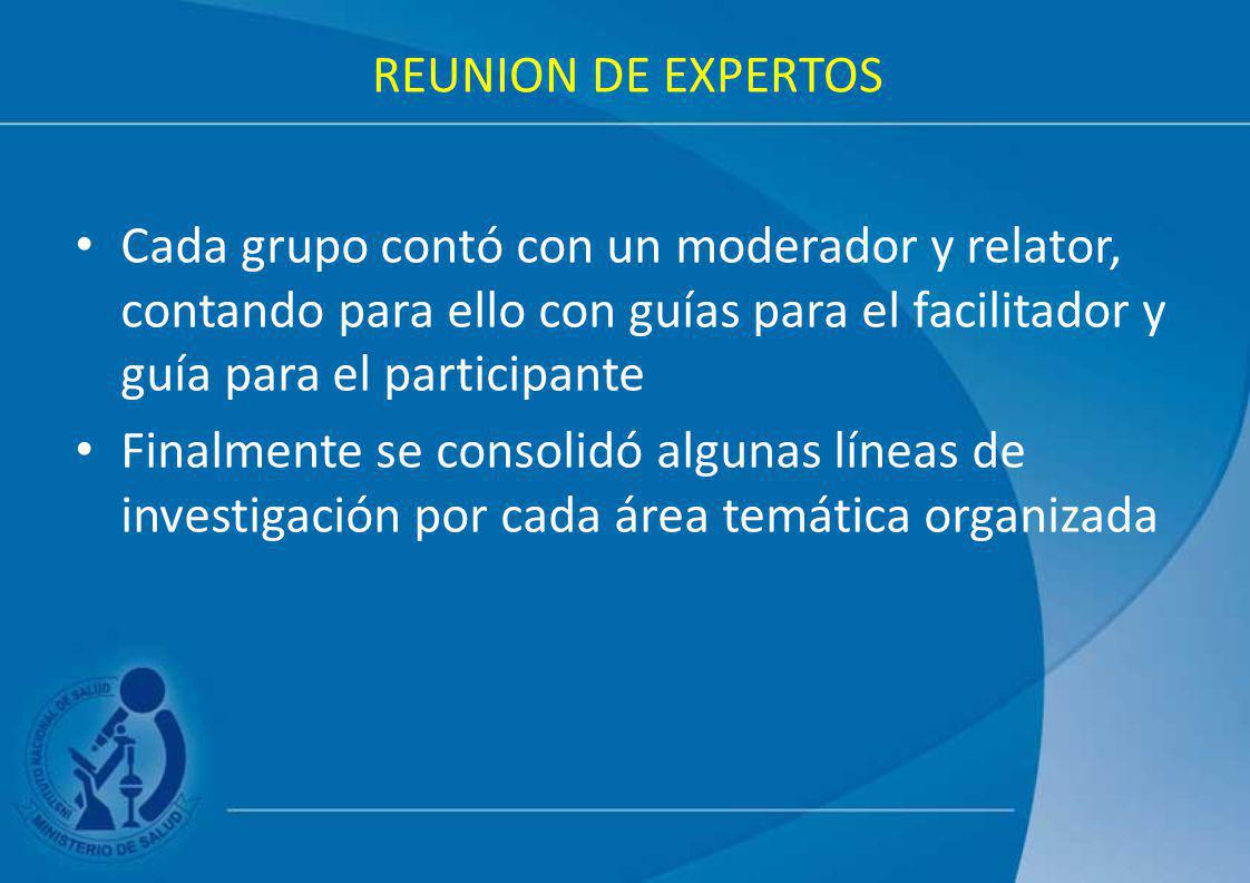 REUNION DE EXPERTOS Cada grupo contó con un moderador y relator, contando para ello con guías para el facilitador y guía para el participante Finalmen