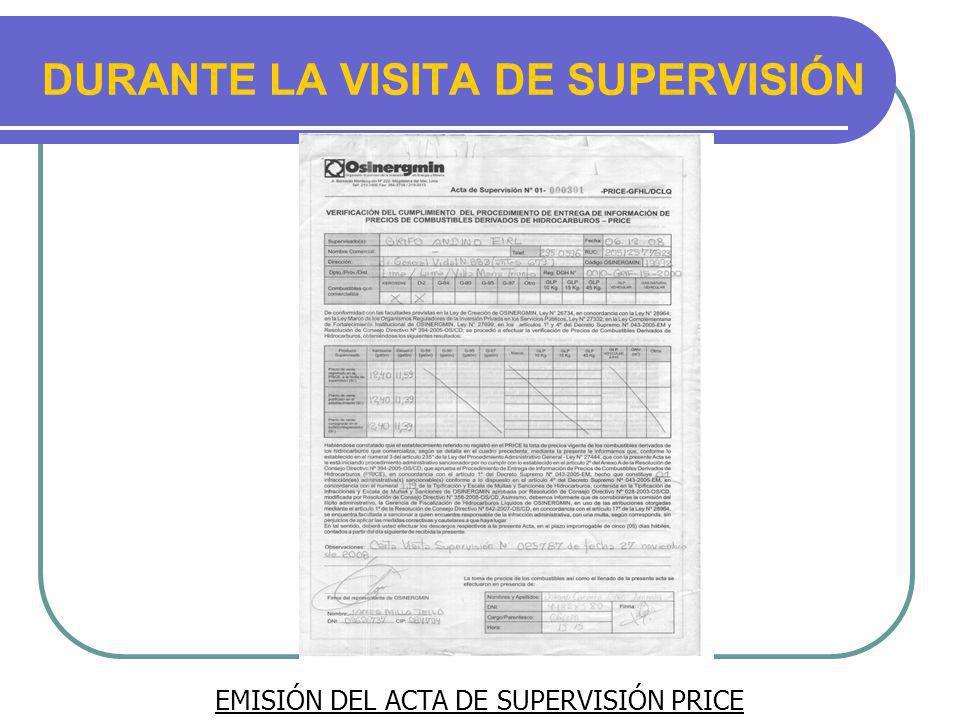 EMISIÓN DEL ACTA DE SUPERVISIÓN PRICE